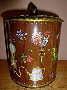 Vintage-Tin-Canister-Floral-Home-Decor-Brown-Gold-Made-in-England