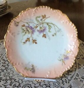 """Antique LS&S Limoges France 8.25"""" Decorated Plate"""