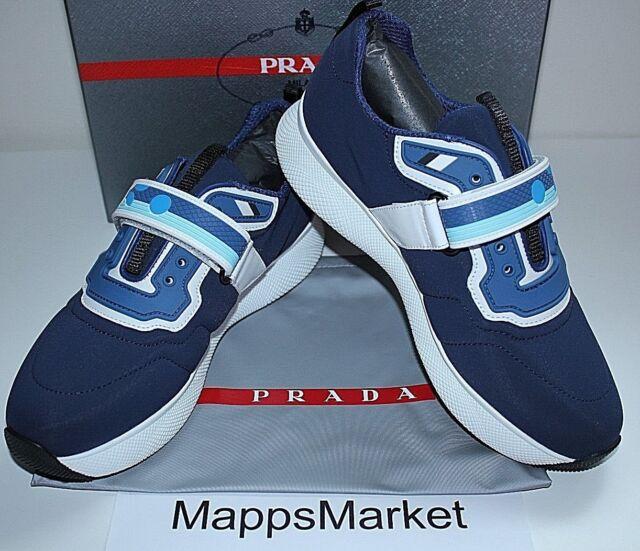 0828678d05a5 NIB Authentic PRADA Women s Neoprene Grip Strap Sneaker in Baltico Sz 8.5   550