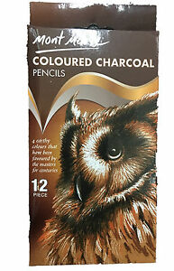 12pc-Mont-Marte-Coloured-Charcoal-Pencils-Artist-Drawing-Sketching-Art-Supply