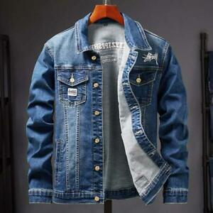 Mens-Denim-Jacket-Classic-Western-Style-Designer-Trucker-Vintage-Style-Coat