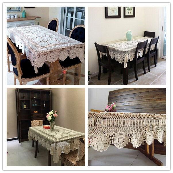 Vintage Rectangle Crochet Dentelle Nappe Table de salle à manger Housse en Tissu Mariage Fête