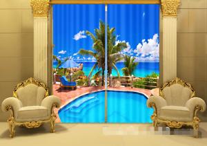 3D verde piscina Blockout impresión de fotografías Cortina Cortinas De Tela Cortinas Ventana au