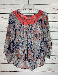 Umgee-Boutique-Womens-S-Small-Blue-Orange-Boho-Lace-Cute-Summer-Top-Blouse-Shirt