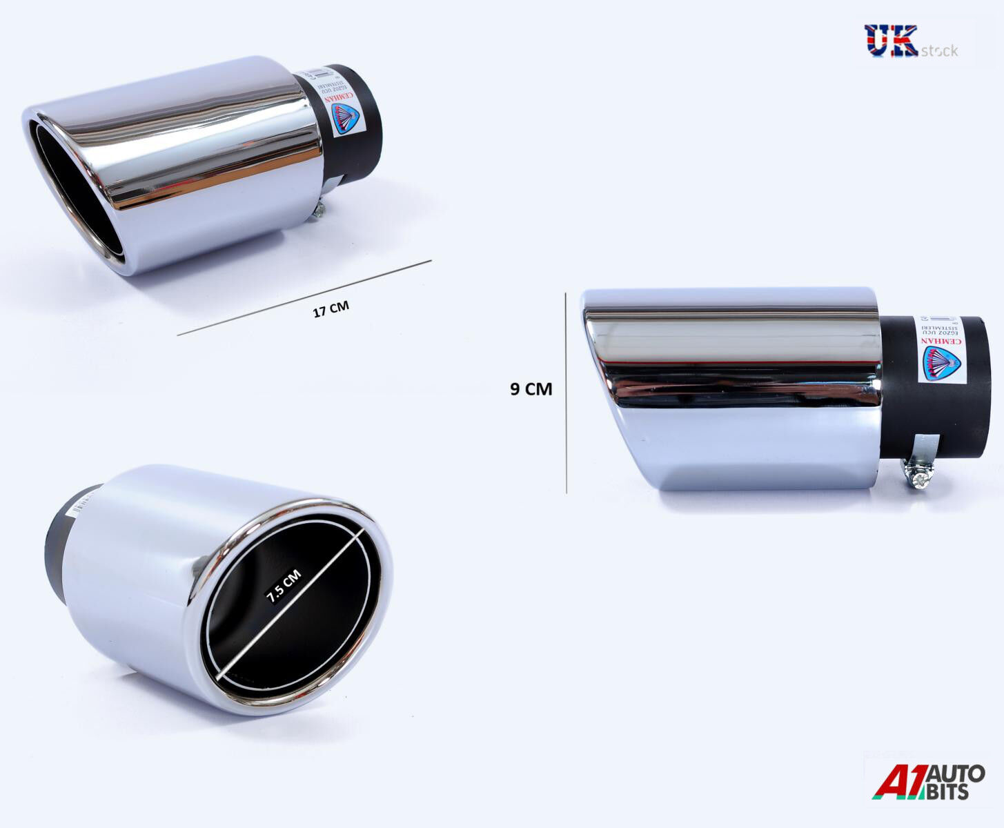 Ford Focus 160x65X200MM OVAL POSTBOX EXHAUST TIP TAIL PIPE CHROME SCREW