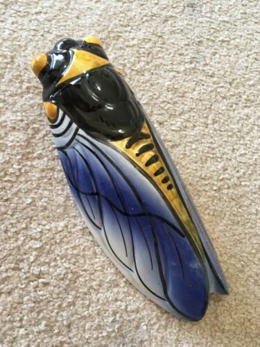 Beautiful Blue Cicada Wall Vase Majolica Ceramic Vintage