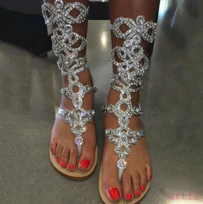 femmes Rhinestones Flop Flops Mid Calf démarrage Gladiator Beach Bohemia Sandal chaussures