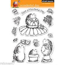 New Penny Black WONDERFUL DAY Clear Stamps Hedgehog Garden Bee Flowers Ladybug