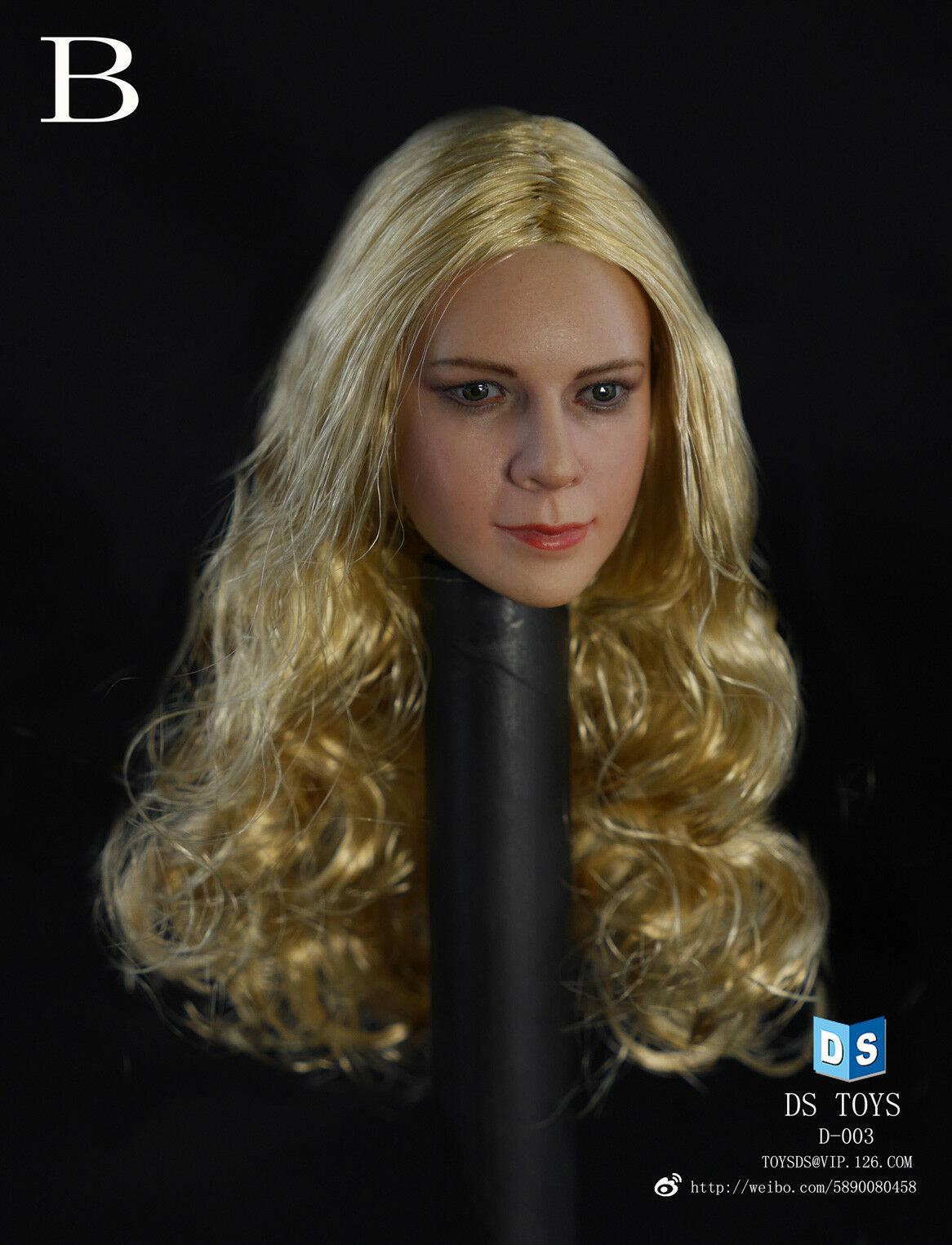 DS Toys Female Figure Head with Long Curly Blonde Hair  D003B