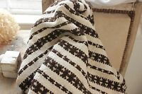 Vintage folk art throw blanket Homespun wool hemp blanket  linen brown stripe ~