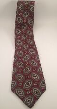 GEOFFREY BEENE Raw Silk from ITALY Neck TIE Tan Maroon Teal PAISLEY Made USA Vtg
