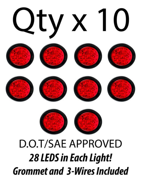 4 U0026quot  Inch Red 7 Led Round Stop  Turn  Tail Truck Light With