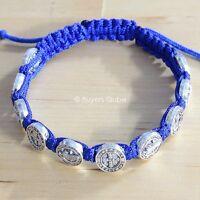 Inspirational St. Benedict Blue Cord Bracelet 10 Medal Beads 8l Adjustable