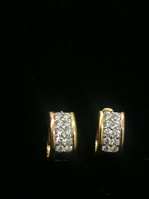 1.10 Cts Round Brilliant Cut Diamonds Huggie Earrings In Solid Hallmark 18K Gold