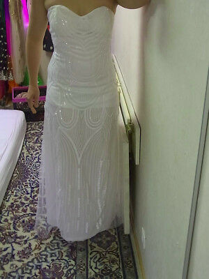 new product 93821 92567 Pailletten Kleid weiß NEU S/M Abendmode glitzer Braut Hochzeit Schnürung  Korsett | eBay