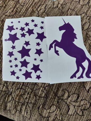 Tamaño de la botella de Unicornio y estrellas Calcomanía