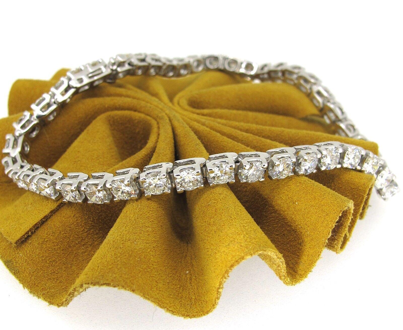 7.48 ct tw Diamonds Round Brilliant Cut 14k White gold Tennis Bracelet 8''