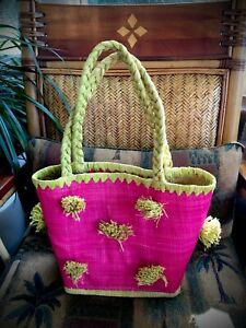 Hot-Pink-amp-Green-Tropical-Burlap-Rafia-Handbag-Cruise-Vacation-Beach-Tote