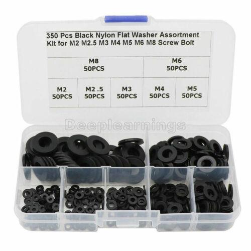 Details about  /350Pcs Set 7 Sizes M2//M2.5//M3//M4//M5//M6//M8 Black Nylon Flat Washer Assortment Kit