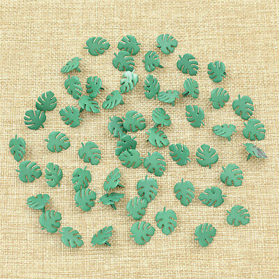 50Pcs Green Leaf Brads Scrapbooking Embellishment Craft Jewelry Making Findings