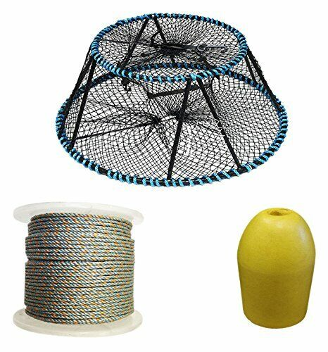 KUFA Vinyl Coated Tower Style Prawn Trap, 400' Lead rope,float CT130FYL400