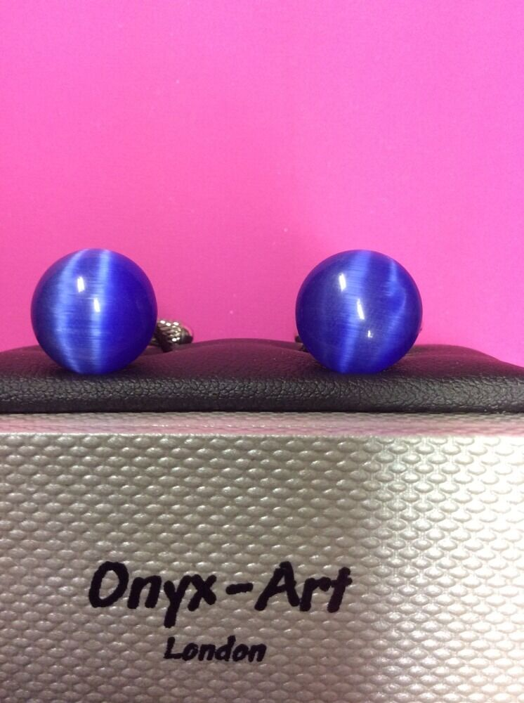 **REDUCED** Blue Domed Cats Eyes Cufflinks by Onyx Art CK 421