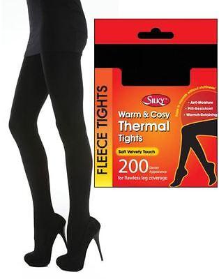 Donna Silky 200 Denari Morbido Calda E Accogliente Pile Termale Collant Nero | eBay