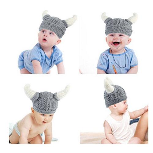 Baby Adult Costume Horn Helm Hat Crochet Dragon Slayer Gamer Helmet Beanie