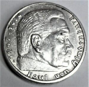5,- Reichsmark 1938 A Silber Paul von Hindenburg & Reichsadler vz+/ xf + Kapsel