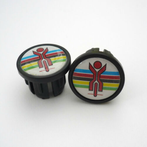 Vintage 70s Style World Champion Black Racing Bar Plugs Caps