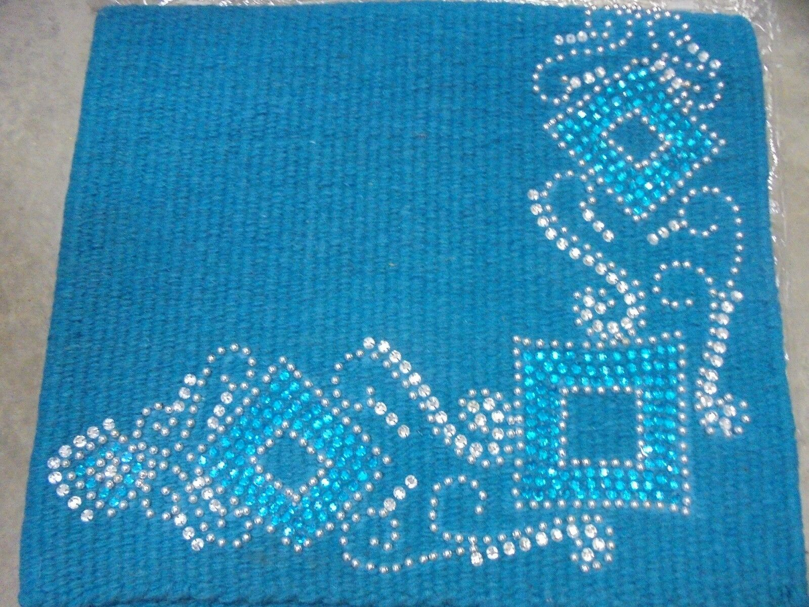 Tough-1 -  Wool  Saddle Blanket - TURQUOISE w  Crystal Dots - 38X34 -NEW