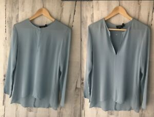 Theory-Silk-Long-Sleeve-Slit-Front-Tunic-Blouse-Top-Blue-S