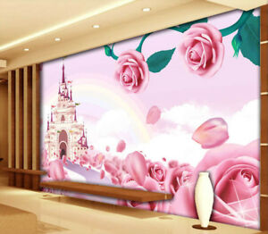 image is loading pink flower castle 3d full wall mural photo