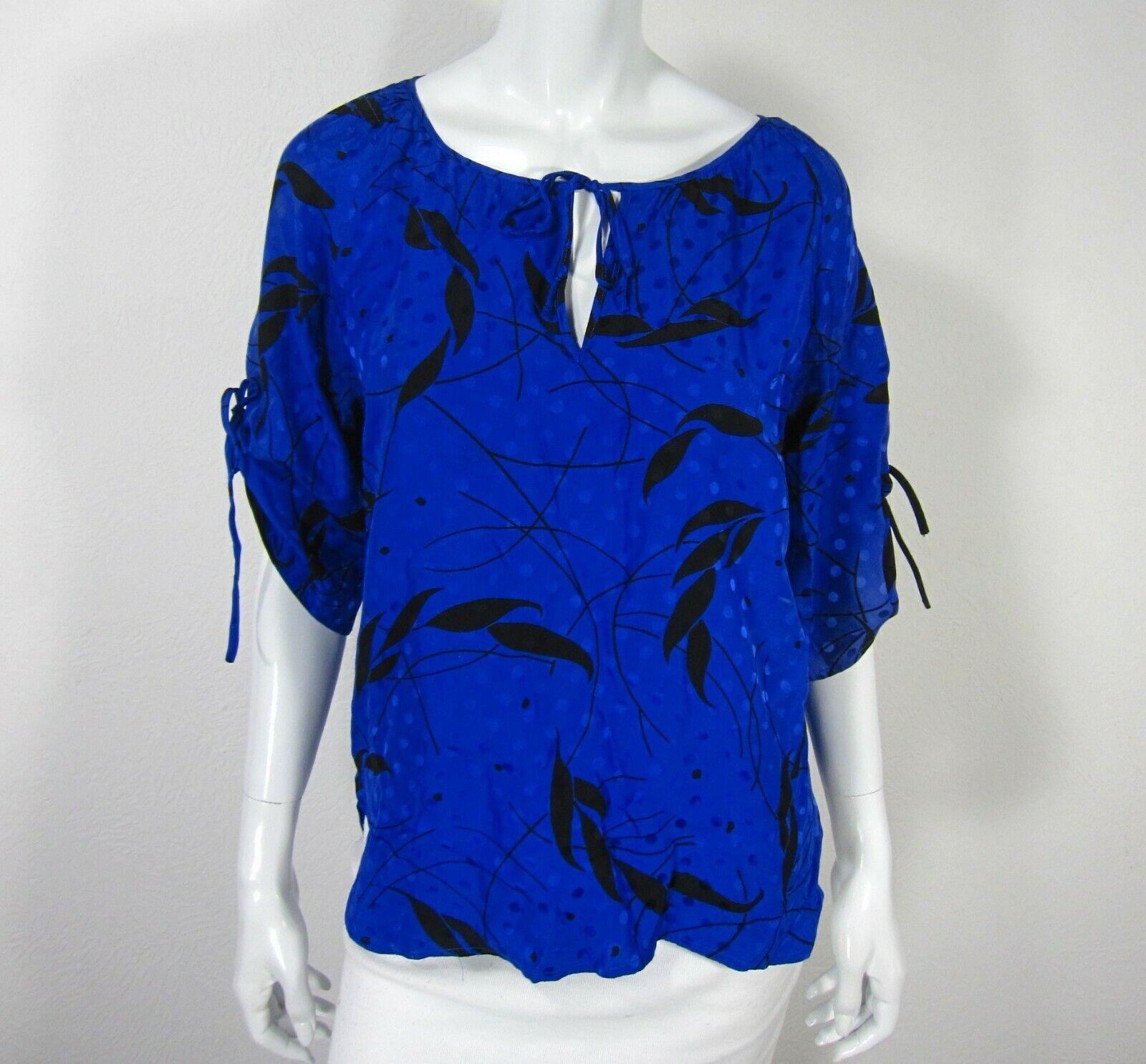 Yumi Kim Short Sleeve Blouse Top Crew Neckline Größe M Medium Blau schwarz