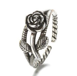 925-Sterlingsilber-Ring-Damen-Ringe-Rose-Rosen-Blume-Bluete-Verstellbar-Silber