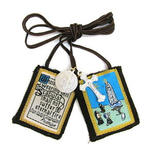 Scapular-Our-Lady-of-Fatima-Mt-Carmel-Brown-Scapular-100-Wool-amp-Medals-Catholic