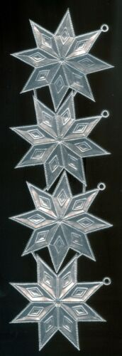 Star Decorations Victorian Scrap Die cut German Dresden Silver Foil Paper 4 Lg