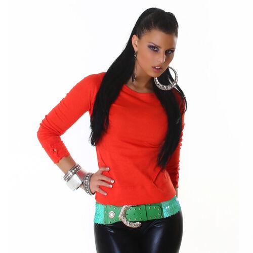 Camisa Jersey Top Redondo Cuello Camiseta Sexy Mujer Botones Sudadera Suéter fqfOTdw