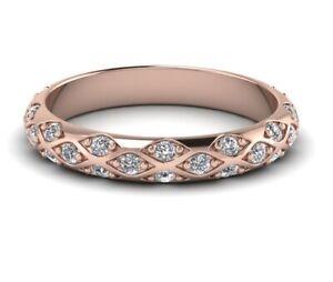 Women-039-s-14K-Rose-Gold-Finish-0-40-CT-Round-Cut-D-VVS1-Diamond-Wedding-Band-Ring