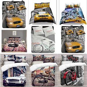 Vehiculo-3D-Diseno-Foto-Impresion-Digital-cubierta-del-edredon-edredon-con-fundas-de-almohada-UK