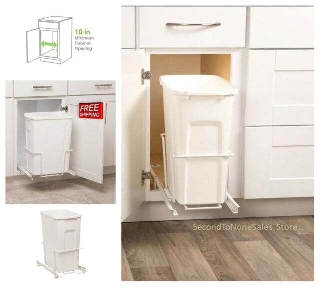 Pull Out Trash Can Plastic Waste Bin Under Cabinet Storage Bottom Mount Kit 35qt