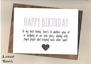 Image Is Loading Best Friend Birthday Card Friends Funny Humour Laughing