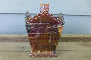 IRIDESCENT-CHOCOLATE-BROWN-SLAG-CARNIVAL-GLASS-Cat-On-Hamper-Basket-SUMMIT-Dish