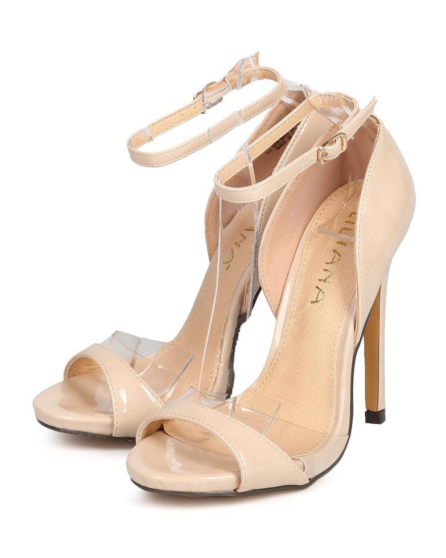 New Women Single Liliana Jesse-103 Patent Lucite Peep Toe Single Women Sole Stiletto Sandal 7b4b73
