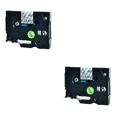 2 PK Black on Clear Label Tape for Brother TZ-131 TZe131 P-Touch 12mm 26ft.