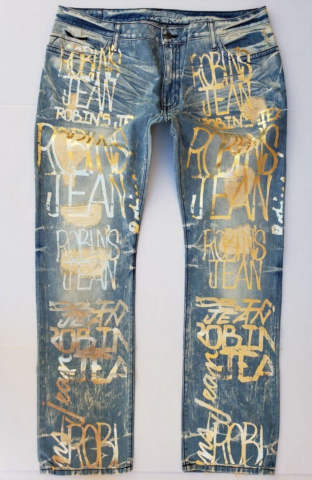 Neu Herren ROTKEHLCHEN Jeans Größe 42 Eng Gerade Antik Jeans -Gold Graffiti