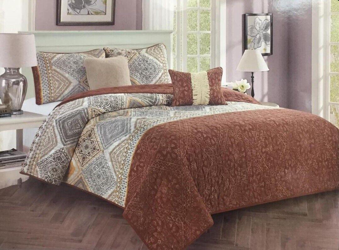5 piece Quilt Set Startseitelet Bettspread Luxury braun Comforter Trim Königin König Gift