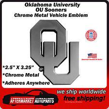 University of Oklahoma OU Sooners Chrome Metal Car Auto Emblem Decal Ships Fast