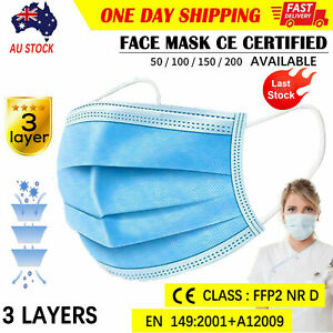 50PCS Disposable Face Masks Surgical 3 Layers Anti Flu Bacterial Filter AU Stock