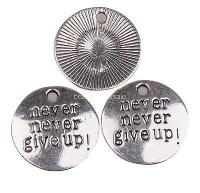 "30pcs Lot Silver/Gold/Bronze Tibetan Silver ""Never Give Up""Coin Round Beads 20mm"
